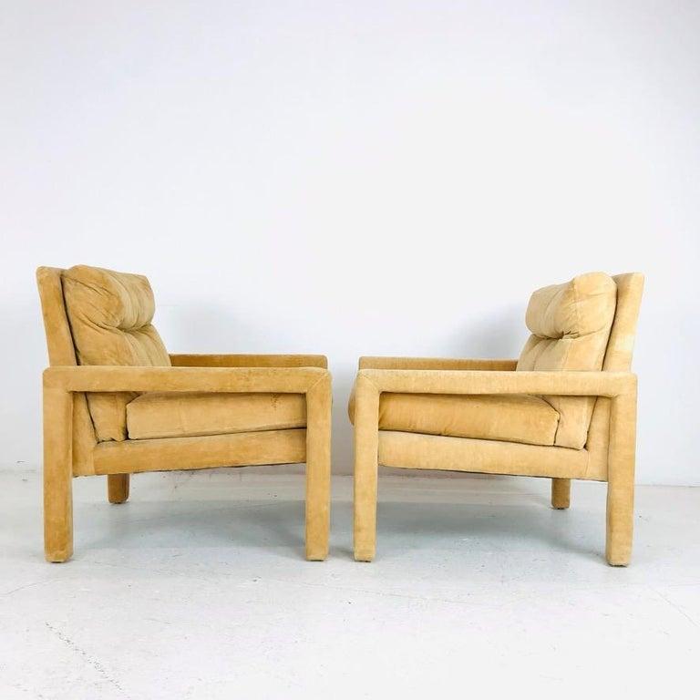 Set of 4 Milo Baughman Gold Velvet Parsons Chairs 4