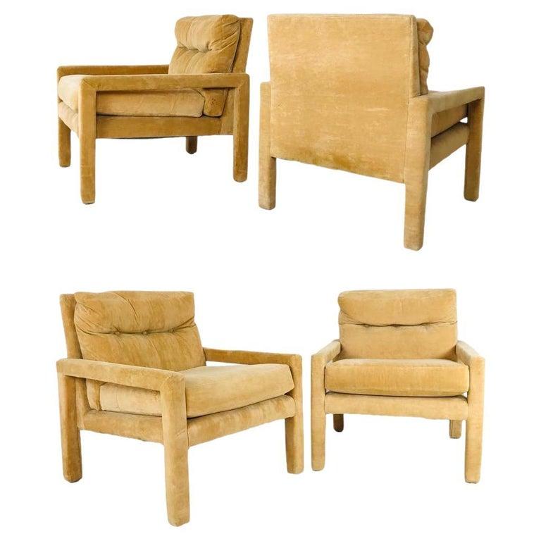 Set of 4 Milo Baughman Gold Velvet Parsons Chairs