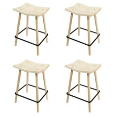 Customizable Set of Four Mitre Counter Stools from Souda, Maple, Made to Order