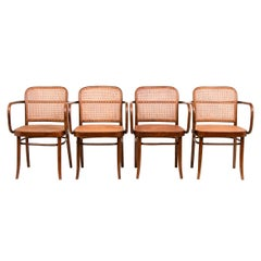 Set of 4 Model A811 Josef Hoffman and Josef Frank for Thonet Cane Armchairs