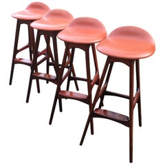 Set of 4 Model OD 61 Barstools in Hardwood and Cognac Leather by Erik Buch