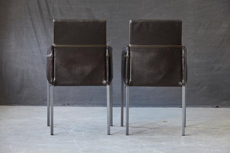Set of 4 Modern Brown Leather Dining Armchairs by Karl Friedrich Förster Germany For Sale 4