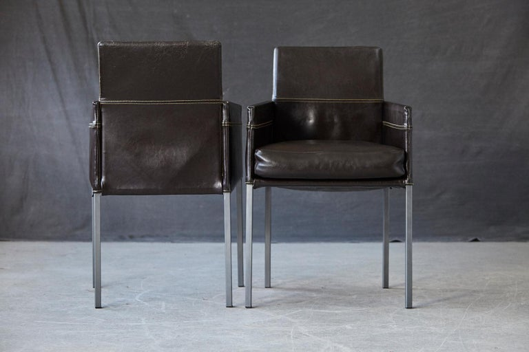Set of 4 Modern Brown Leather Dining Armchairs by Karl Friedrich Förster Germany For Sale 5