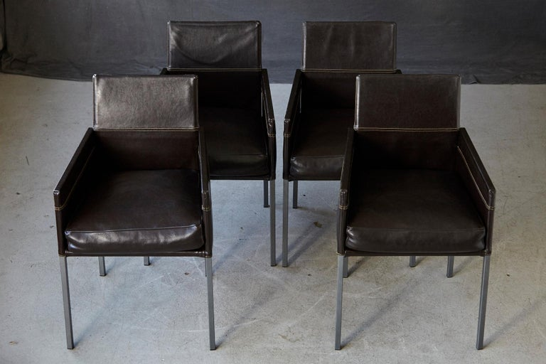 Varnished Set of 4 Modern Brown Leather Dining Armchairs by Karl Friedrich Förster Germany For Sale