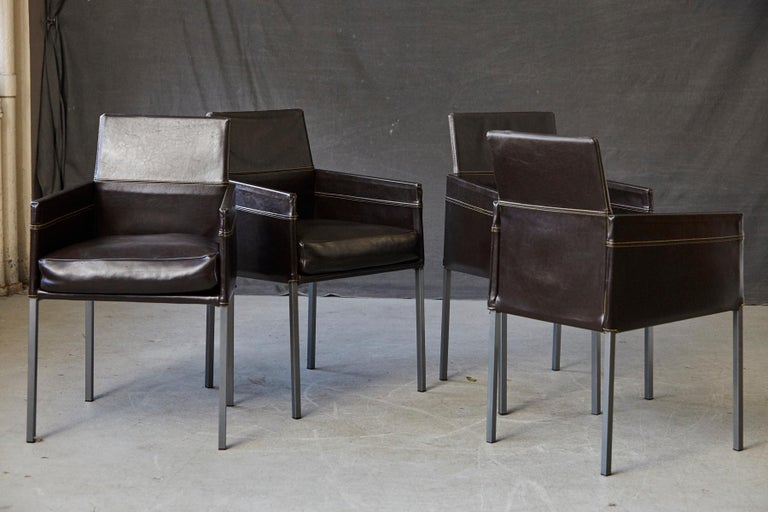 Set of 4 Modern Brown Leather Dining Armchairs by Karl Friedrich Förster Germany In Good Condition For Sale In Weston, CT
