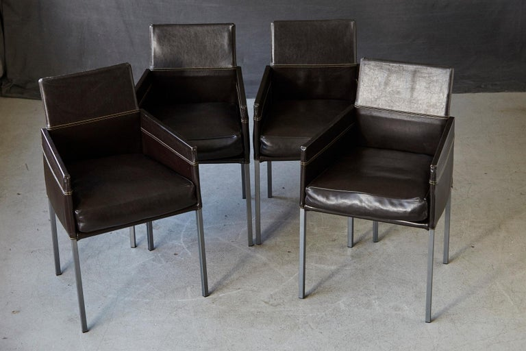 Contemporary Set of 4 Modern Brown Leather Dining Armchairs by Karl Friedrich Förster Germany For Sale