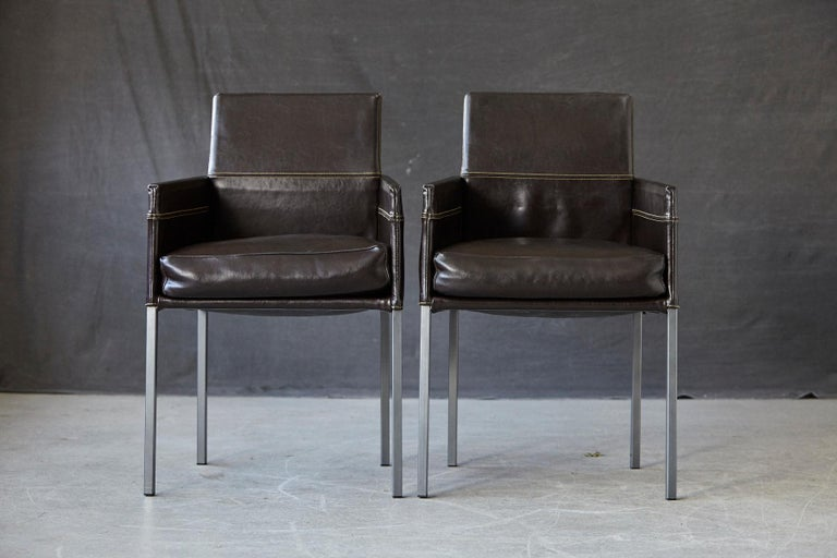 Steel Set of 4 Modern Brown Leather Dining Armchairs by Karl Friedrich Förster Germany For Sale
