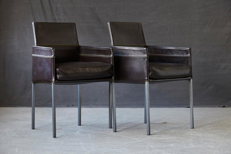 Set of 4 Modern Brown Leather Dining Armchairs by Karl Friedrich Förster Germany For Sale 1