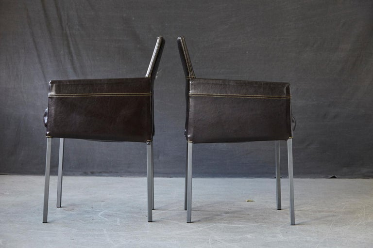Set of 4 Modern Brown Leather Dining Armchairs by Karl Friedrich Förster Germany For Sale 2