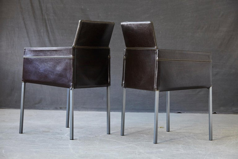 Set of 4 Modern Brown Leather Dining Armchairs by Karl Friedrich Förster Germany For Sale 3