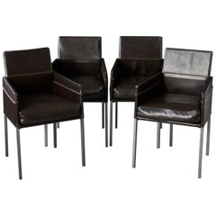Set of 4 Modern Brown Leather Dining Armchairs by Karl Friedrich Förster Germany