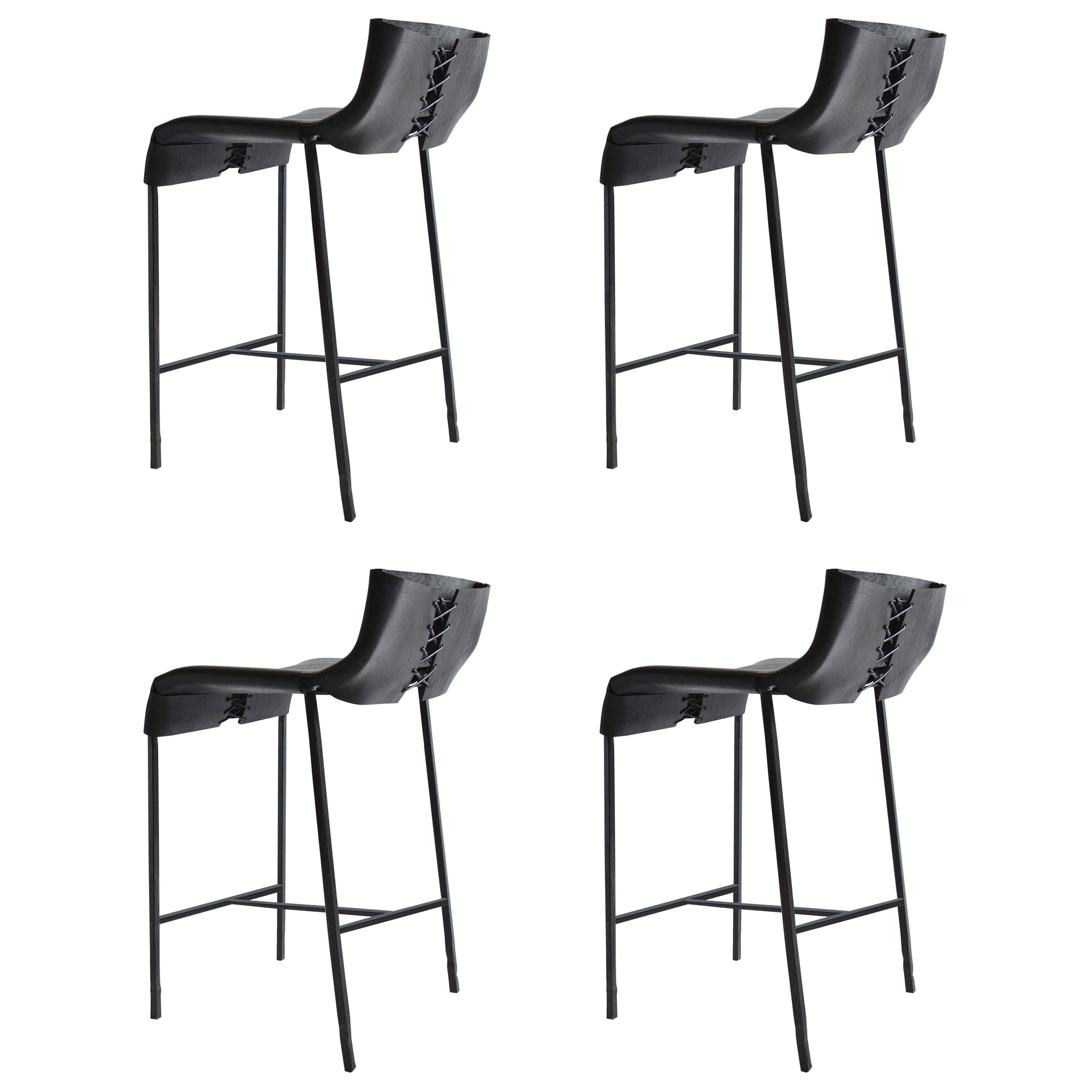 Set of 4 Counter or Bar Stools Modern/Contemporary Blackened Steel and Leather