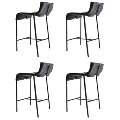 Set of 4 Modern/Contemporary Counter or Bar Stool in Blackened Steel and Leather