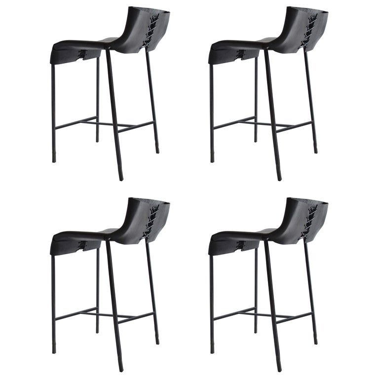 Set of 4 Modern/Contemporary Counter or Bar Stool in Blackened Steel and Leather For Sale