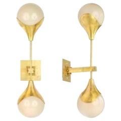 Set of 4 Modern Murano Gilt Brass and White Glass Ball Form Sconces