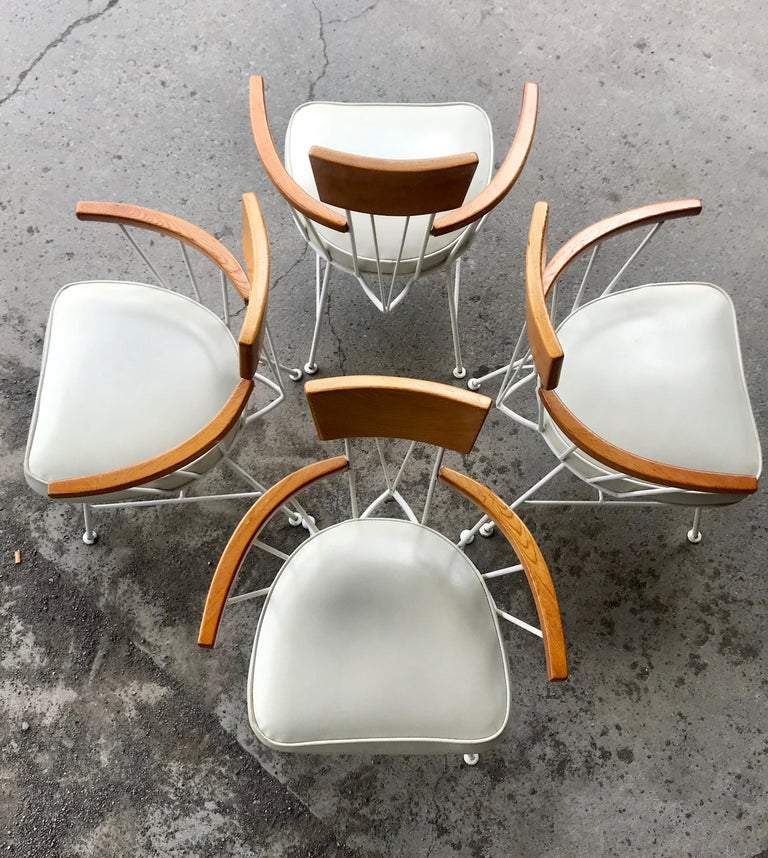 American Set of 4 Modernist Iron and Wood Armchairs Designed by Richard McCarthy For Sale