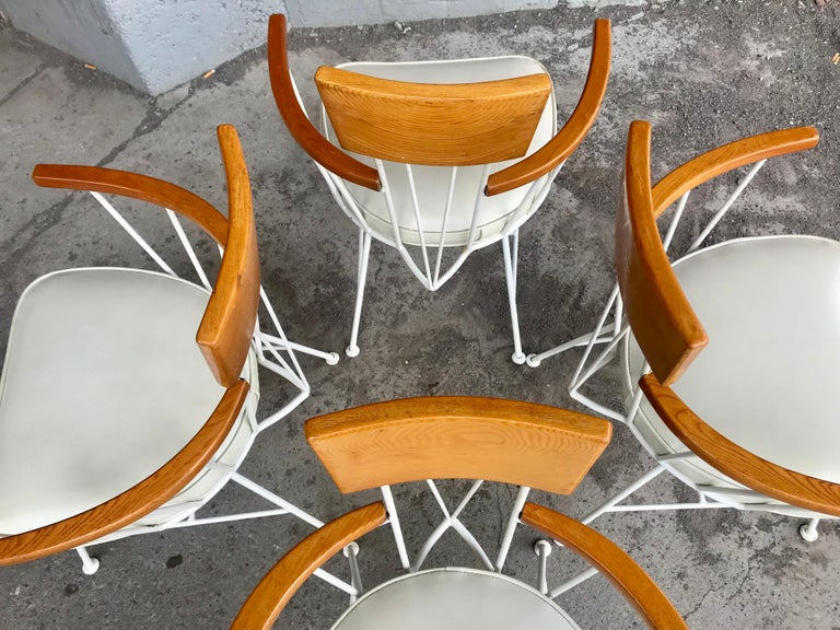 Set of 4 Modernist Iron and Wood Armchairs Designed by Richard McCarthy In Good Condition For Sale In Buffalo, NY