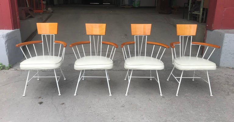 20th Century Set of 4 Modernist Iron and Wood Armchairs Designed by Richard McCarthy For Sale