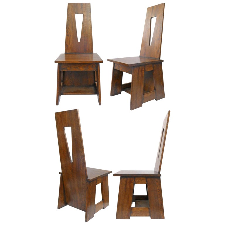 Set of 4 Modernist Oak Dining Chairs For Sale