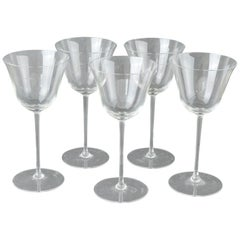 "Set of 4 Monogrammed Art Deco Wine Glasses, English, 1920s, Initial ""F"""
