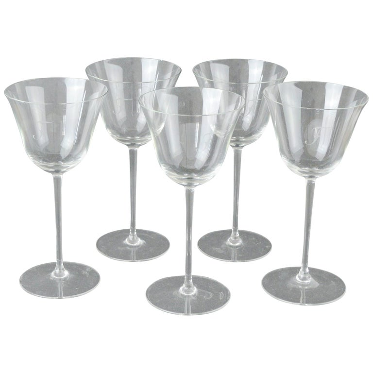"Set of 4 Monogrammed Art Deco Wine Glasses, English, 1920s, Initial ""F"" For Sale"