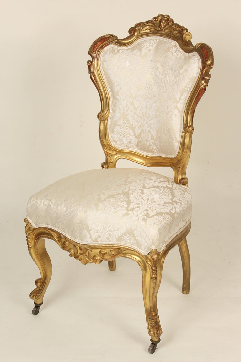 Set of 4 Napoleon III (Possibly Venetian), giltwood side chairs, late 19th century. These chairs have excellent original gilding with areas of touch up.