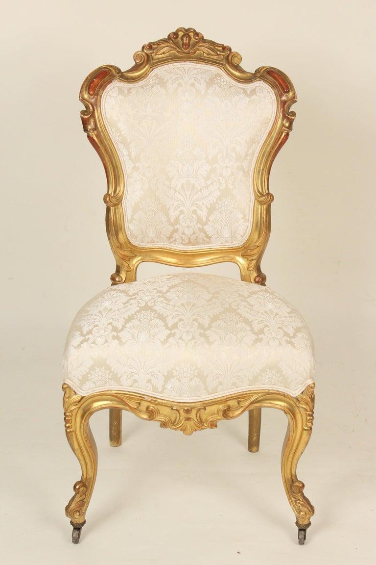 European Set of 4 Napoleon III Giltwood Side Chairs For Sale