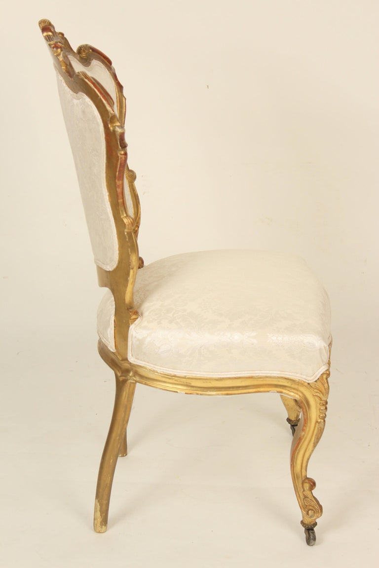 19th Century Set of 4 Napoleon III Giltwood Side Chairs For Sale