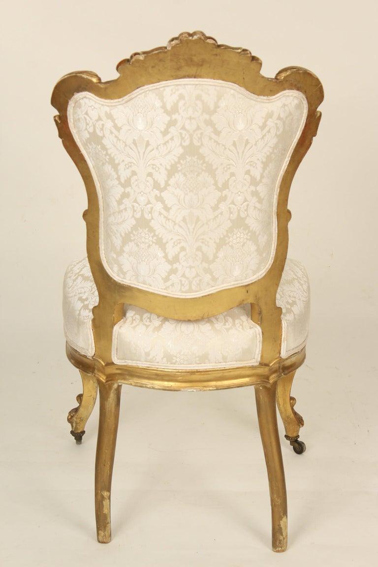 Wood Set of 4 Napoleon III Giltwood Side Chairs For Sale