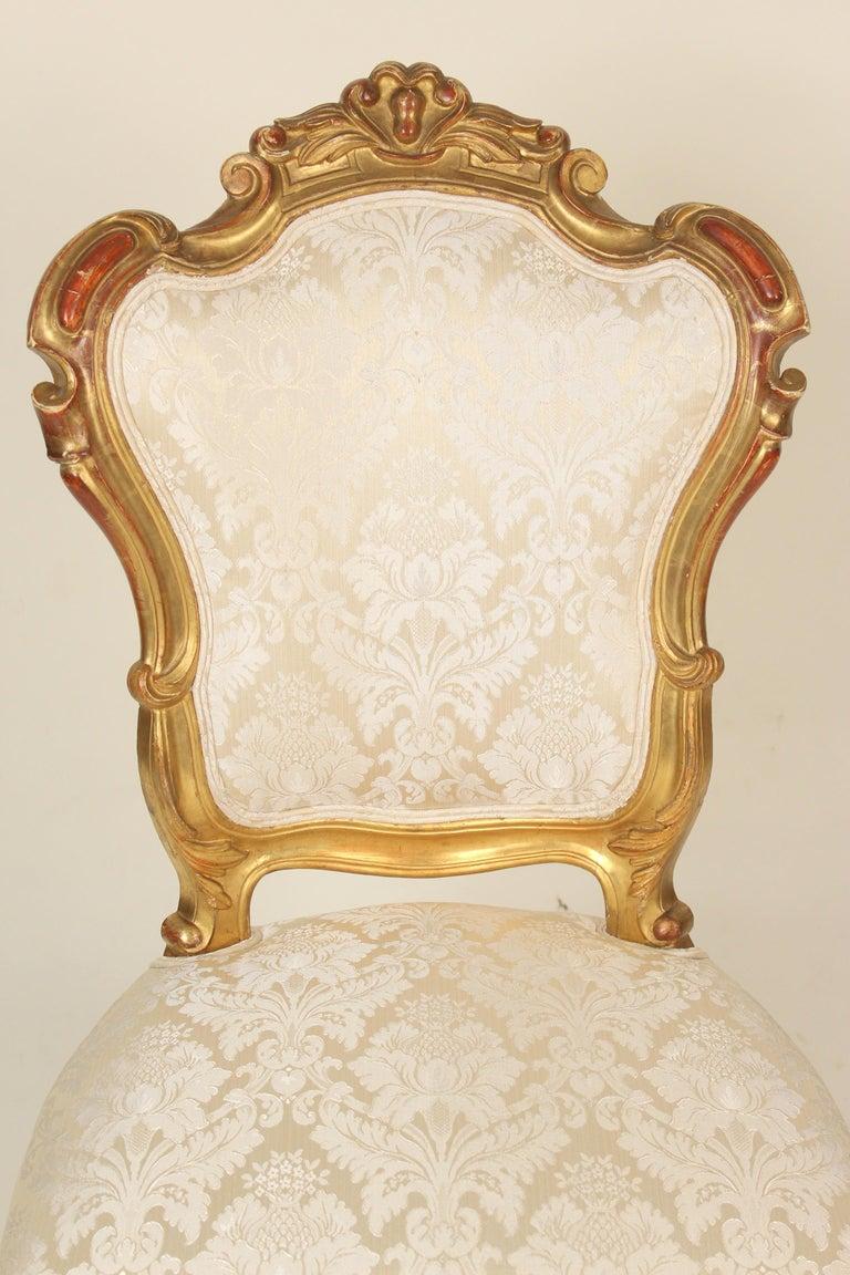 Set of 4 Napoleon III Giltwood Side Chairs For Sale 1