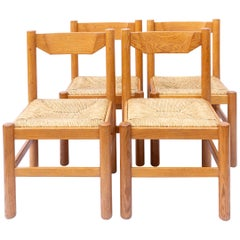 Set of 4 Natural Oak Carimate Dining Chairs