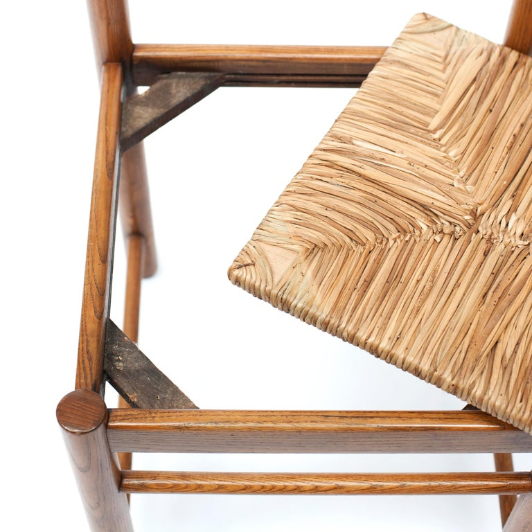 Set of 4 Natural Oak Dining Chairs Attributed to Vico Magistretti, 1960s For Sale 6