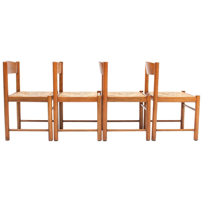 Set of 4 Natural Oak Dining Chairs Attributed to Vico Magistretti, 1960s For Sale