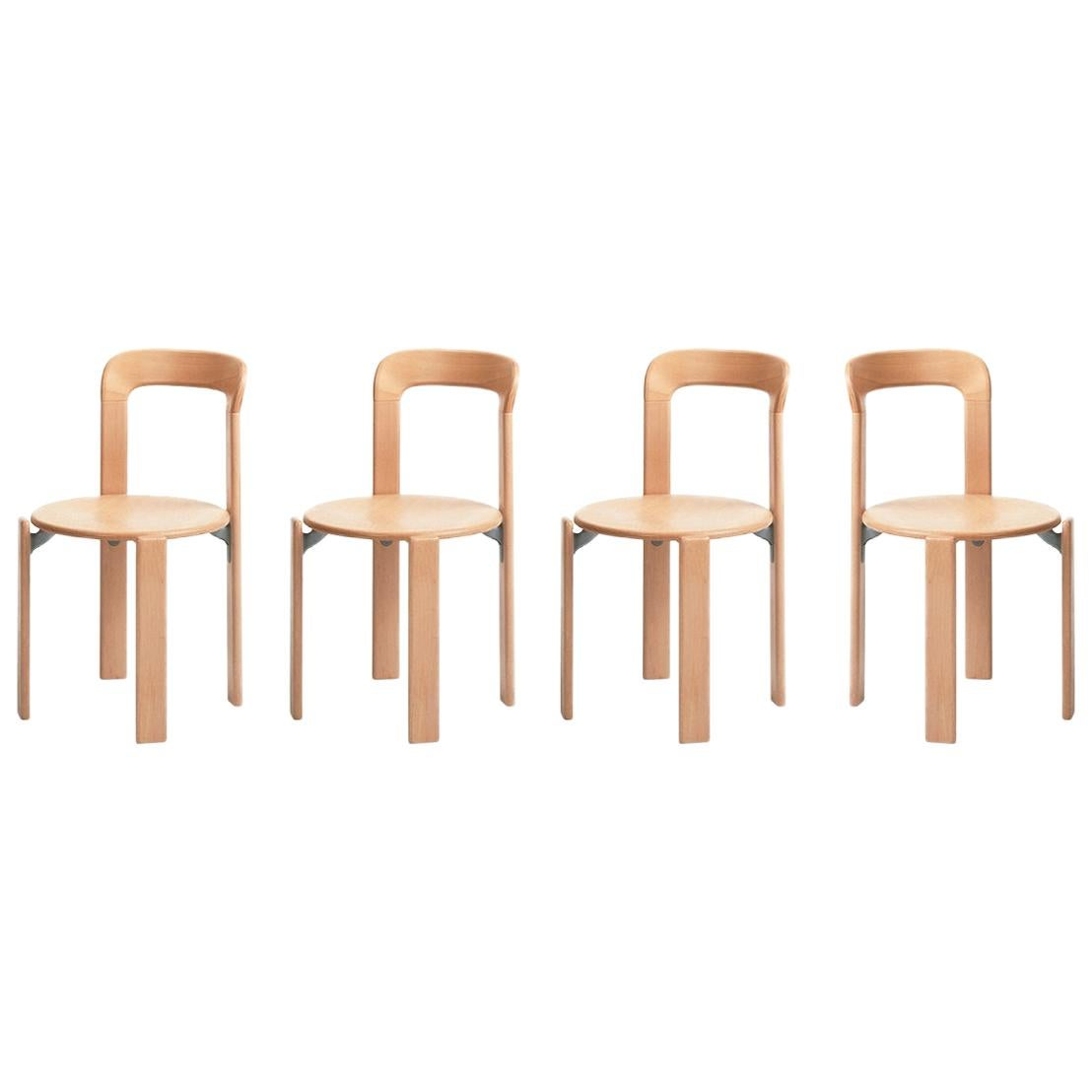 Set of 4 Natural Rey Chairs by Dietiker, a Swiss Icon Since 1971