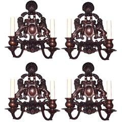 Set of Four Neo Classic Bronze Sconces
