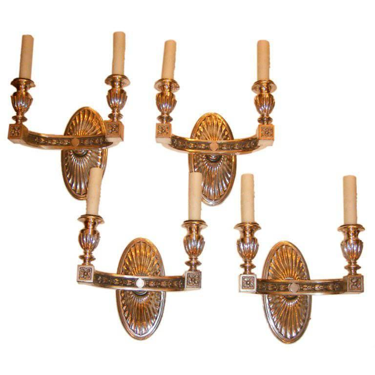 Set of Four Neoclassic Silver Plated Sconces