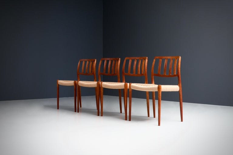 Set of four dining chairs by Niels Otto Møller in newly upholstered Danish Cord, Denmark, 1960s