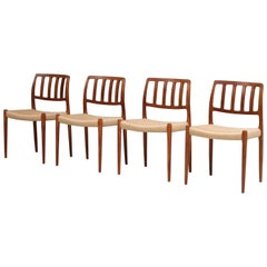 Set of 4 Newly Upholstered Dining Chairs by Niels Otto Møller, Denmark, 1960s