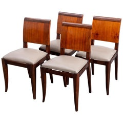 Set of 4 Newly Upholstered Ruhlman Style Art Deco Dining Chairs