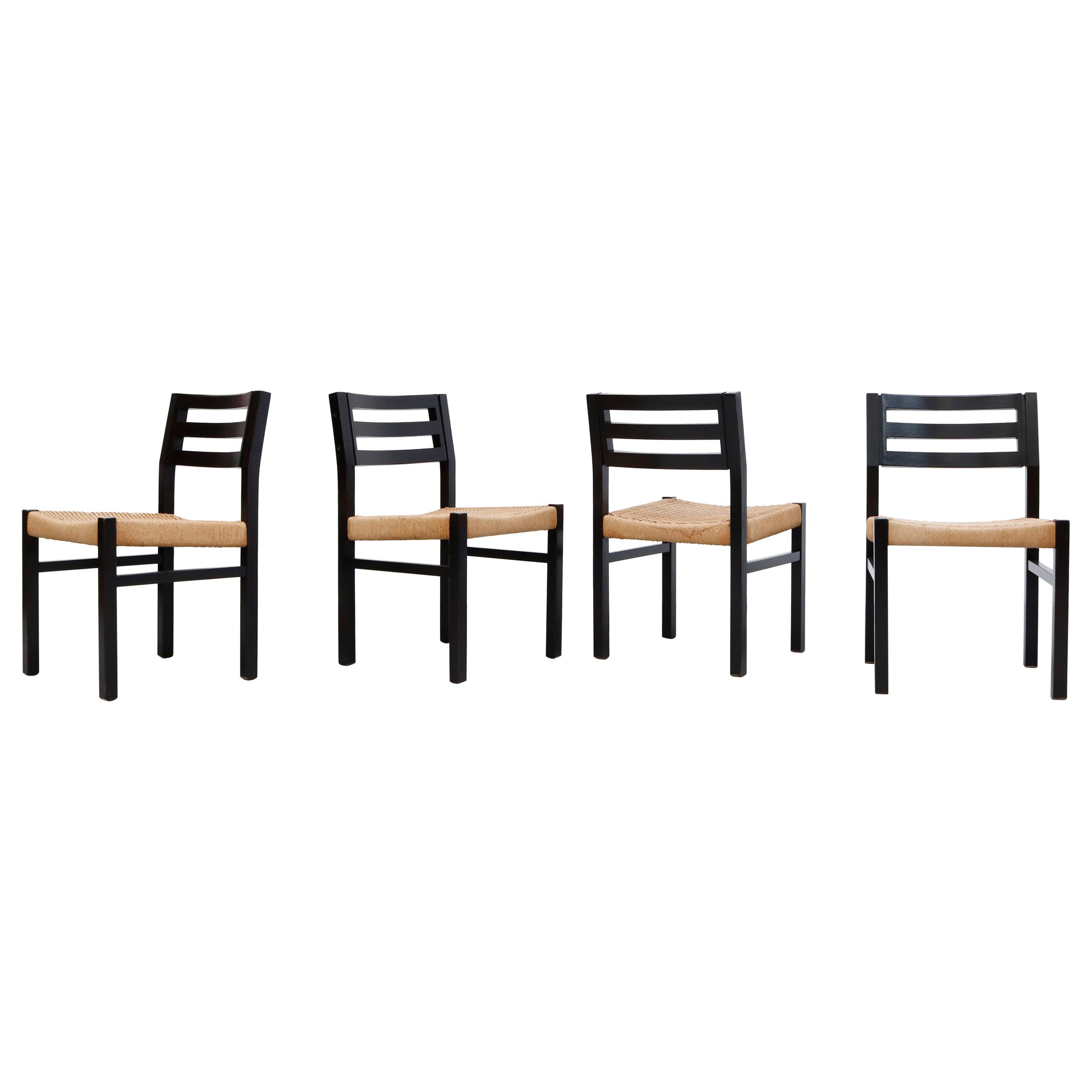 Set of 4 Niels Moller Black Stained Paper Cord Dining Chairs