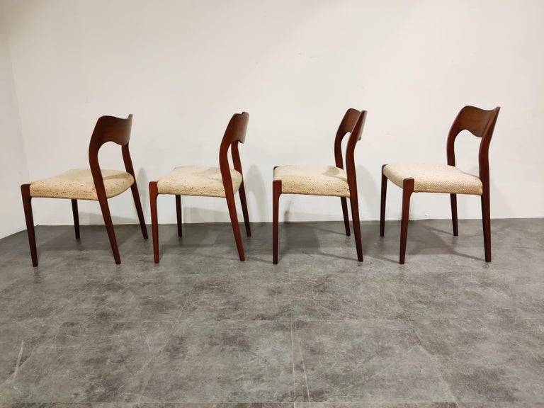 Scandinavian Modern Set of 4 Niels Otto Møller Model 71 Dining Chairs, 1960s