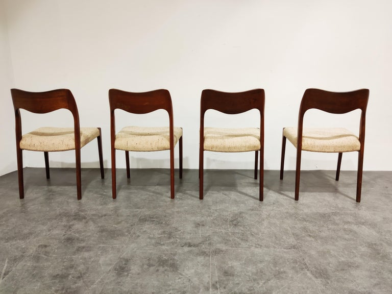 Danish Set of 4 Niels Otto Møller Model 71 Dining Chairs, 1960s
