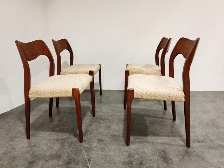 Mid-20th Century Set of 4 Niels Otto Møller Model 71 Dining Chairs, 1960s