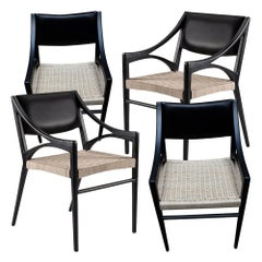 Set of 4 O Chairs in Rattan and Walnut for Dining and Desk by ATRA