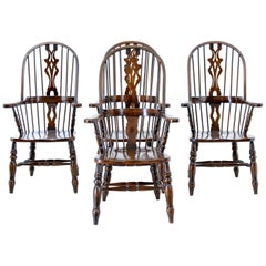 Set of 4 Oak and Elm Windsor Armchairs by Bevan and Funnell