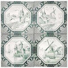 Set of 4 of Ceramic Tiles by Gilliot 'Total 200 Tiles', 1930