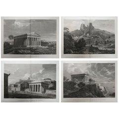 Set of 4 Original Antique Prints of Ancient Greek Architecture, circa 1790