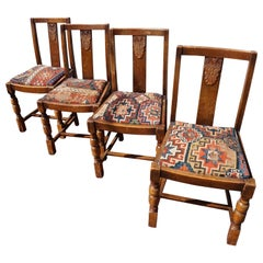 Set of 4 Original Art Deco Chairs & Hand Knotted Antique Caucasus Carpet Seats
