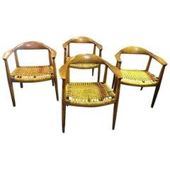 Set of 4 Original Hans Wegner Danish JH-501 Chairs by Johannes Hansen for Knoll