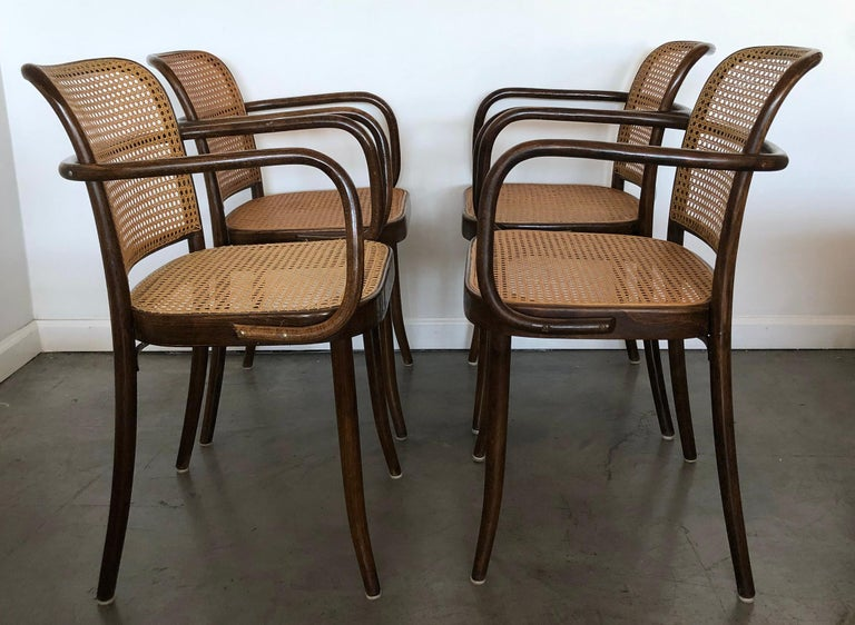 Set Of 4 Original Josef Hoffman Prague Chairs For Stendig